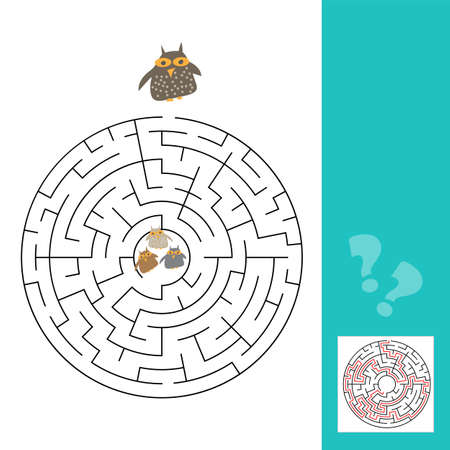 Funny owls labyrinth game for Preschool Children. vector.