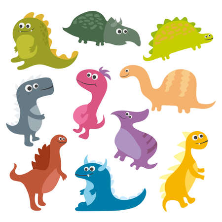 Cute vector dinosaurs isolated on white background Illustration