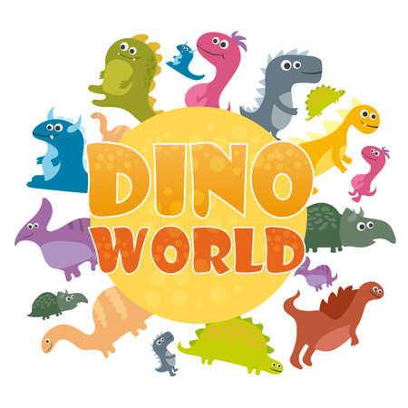 Dinosaurs world poster. Vector cartoon dinosaurs log