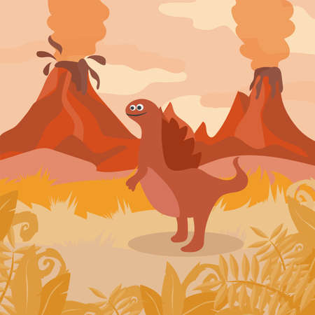 Prehistoric wildlife. Nature landscape with silhouette of dinos, mountains, volcanos Illustration
