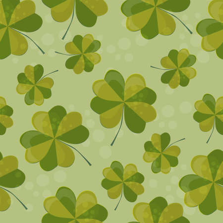pattern illustration with clover with four leaves as a symbol of luck