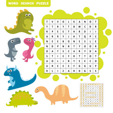 Logic game for learning English. Find dino words - Word search puzzle. Illustration