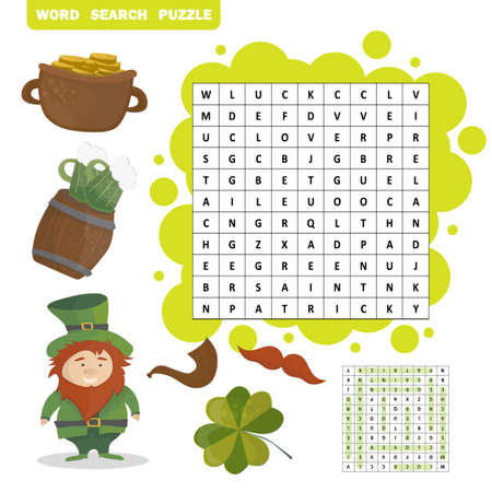 Sy. Patrick's Day holiday theme word search puzzle Vectores