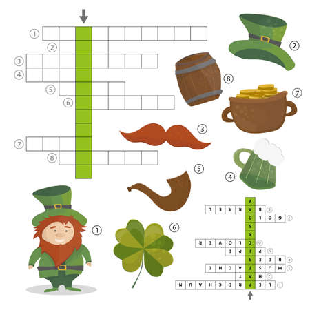 St. Patricks Day holiday puzzle crossword game.