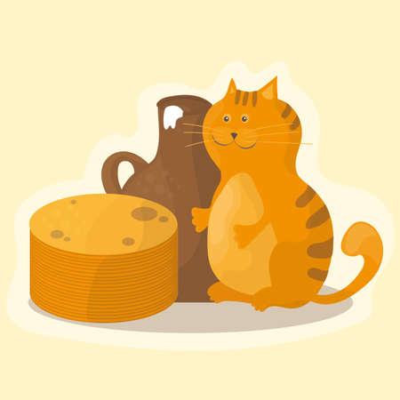 Shrovetide or maslenitsa, pancakes, sour cream and cat. Illustration