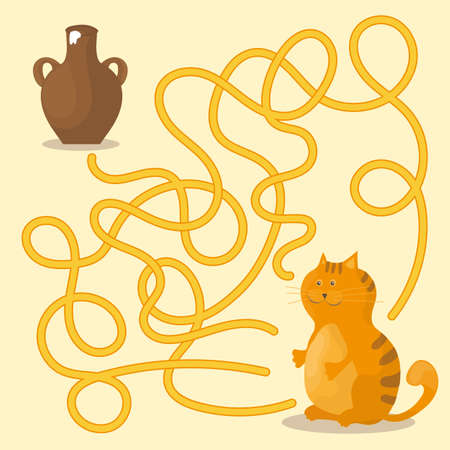 Cartoon vector, maze or labyrinth game for preschool children with cat and milk.