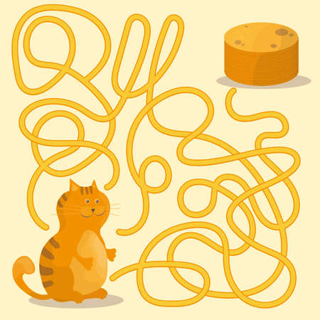 Cartoon of Paths or Maze Puzzle Activity Game with Kitten and Pancakes