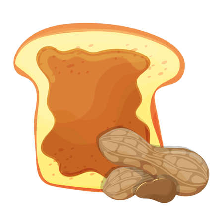 Slice of bread or toast with peanut butter isolated illustration Illustration