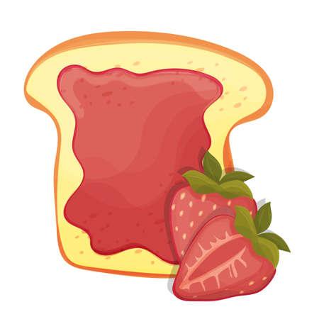 Geroosterde broodplak van een sandwich rode aardbeijam voor ontbijt