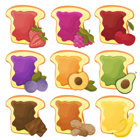 A set of nine sweet sandwiches chocolate, banana, jelly, peanut butter, berries Stock Illustratie