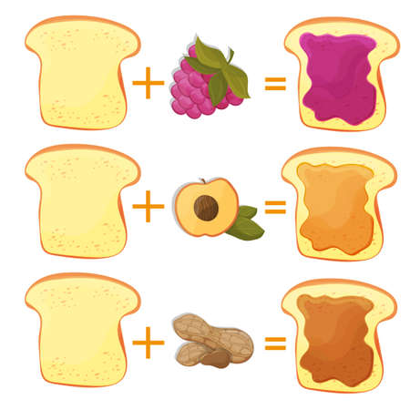 How Make Toast Ingredients for Classic Tasty American Fast Food for Poster or Card. Vector illustration