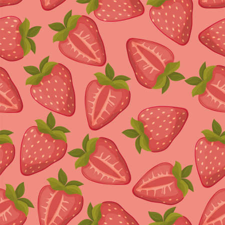Strawberries seamless vector pattern with pink background Illustration