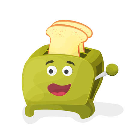 Illustration of a green cartoon toaster on a white background Stock Illustratie