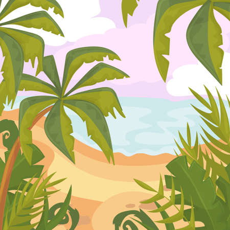 Palms and plants with sea view illustration.