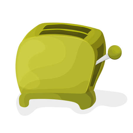 Illustration of a green cartoon toaster on a white background Illustration