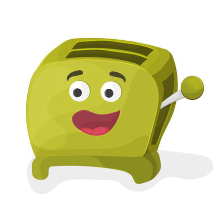 Illustration of a green cartoon toaster on a white background Çizim