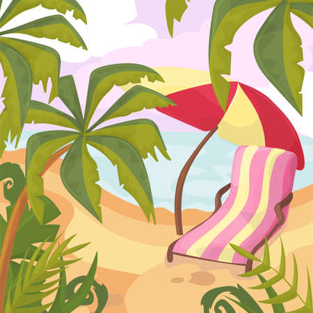 Summertime on the beach. Palms and plants around.Cartoon vector. Summer vacation