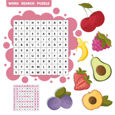 Vector color crossword, education game for children about tropical fruits. Word search puzzle Vectores
