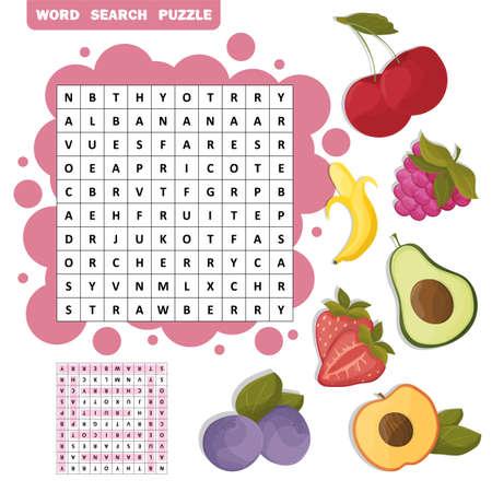 Vector Farbkreuzworträtsel, Bildungsspiel für Kinder über tropische Früchte. Wortsuchrätsel