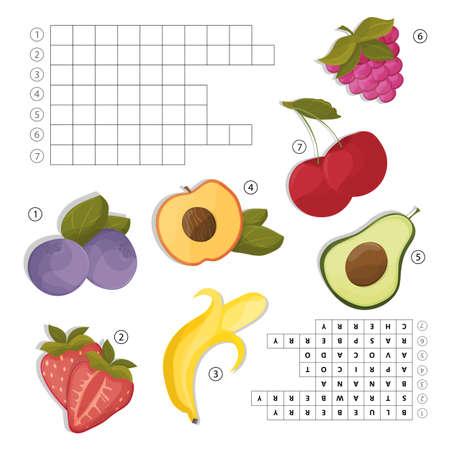 Kreuzworträtsel für Englisch lernen . Finde die Früchte und Beeren Wörter Vektorgrafik