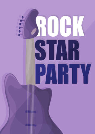 Rock star party, music poster background template - guitar in purple