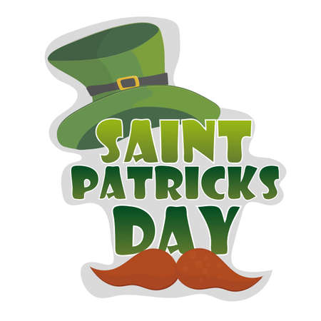 St. Patricks Day vintage holiday badge design. Vector.