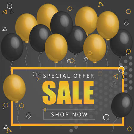 Sale Poster with shiny balloons on dark Background with golden, glitter lettering and frame