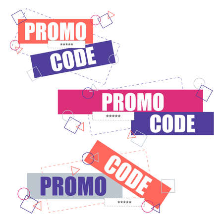Promo code, coupon code. Flat vector set design illustration on white background Illustration