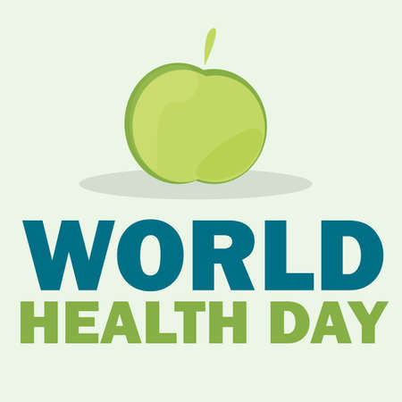 World health day card. Vector illustration with green apple and text on light coloured background