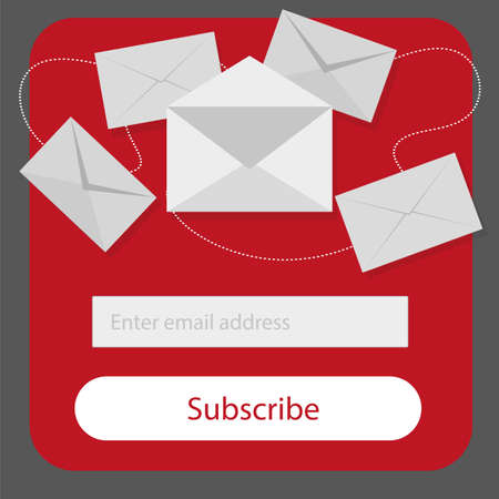 Subscribe to newsletter form with button in red, grey and white colors