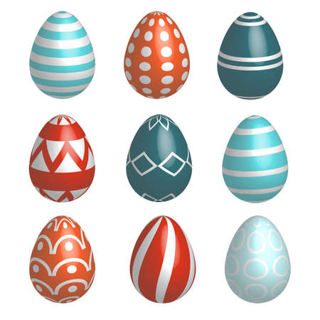 Set of nine realistic colorful vector Easter eggs with simple patterns and shadow isolated on a white background.