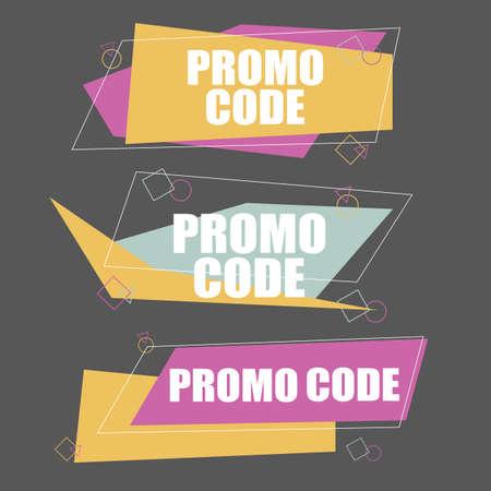 Promo code, coupon code. Flat vector set design illustration on white background. Illustration