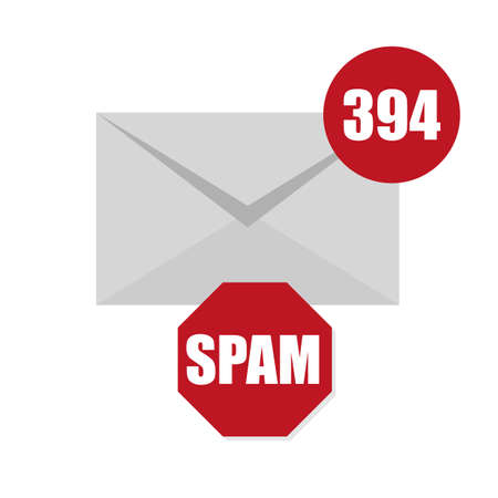 Vector illustration of spam envelope icon with counter and red sign on white