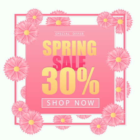Spring sale background banner with beautiful colorful pink flower. Vector illustration.