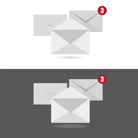 White envelope letter with counter notification, concept of incoming email message. Illustration