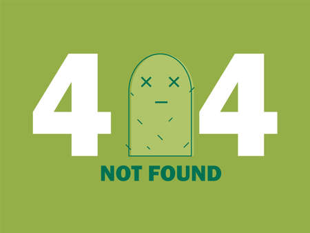 404 Error Page or File not Found icon. Cute green Cactus. UX UI vector for web