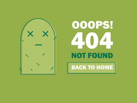 404 Error Page or File not Found icon. Cute green Cactus - Isolated UX UI vector illustration for web and mobile design Illustration