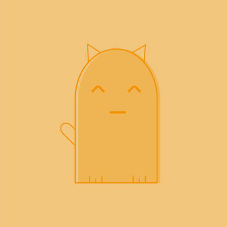 Cute cat icon line, symbol, logo, emblem. Contour Design in orange color