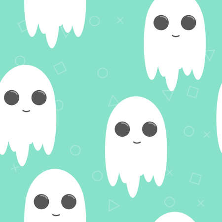 Halloween background. Seamless pattern of cute cartoon ghosts with smiled face
