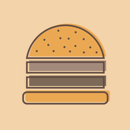 A burger logo emblem colored shape line style - vector illustration
