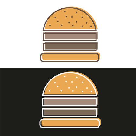A burger logo emblem colored shape line style - vector illustration on black and white background