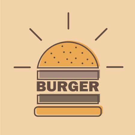 burger logo emblem colored shape line style Vector illustration.