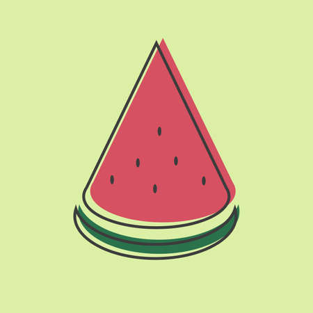 Piece of watermelon vector line icon isolated on green background for website