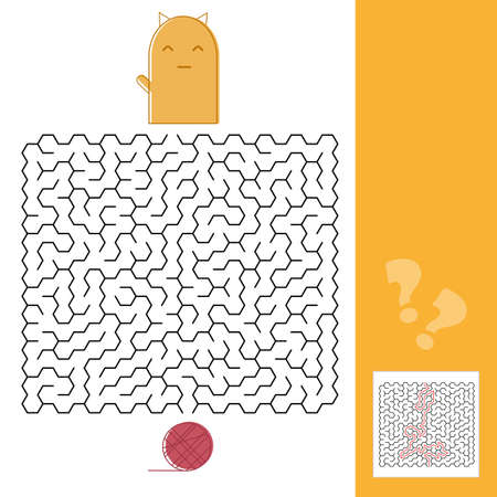Kitten And Wool Ball Maze Game with Solution Vector illustration Illustration