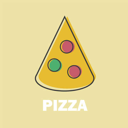 Pizza Vector Illustration in Line Art Flat Style Design Funny image