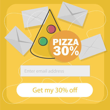 Ecommerce concept order fast food online. Subscribe to newsletter form - Vector flat cartoon illustration for advertisement, web sites, banners design. Delivery service with discount Vectores