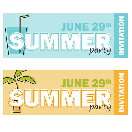 Creative modern flat design invitation on summer party with line symbol