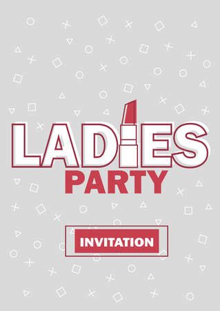 Template for Ladies night party invitation vector illustration in grey and red Vettoriali