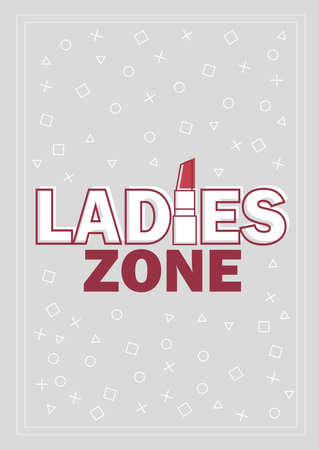 Template for Ladies concept vector illustration in grey and red Ilustracja