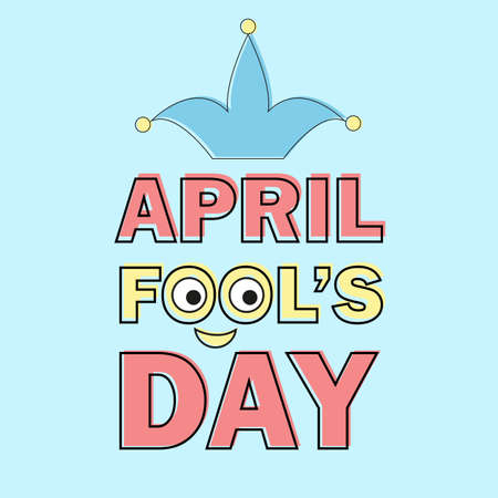 April Fools Day text and funny element vector illustration for greeting card
